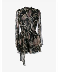 Zimmermann Floral Print Silk Playsuit Black Multi Coloured