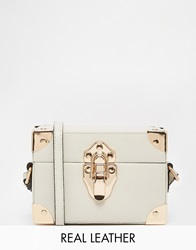 Reiss Box Bag With Luggage Style Hard Wear Detail Cream