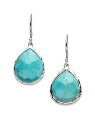 Ippolita Rock Candy Turquoise And Sterling Silver Mini Teardrop Earrings Silver Turquoise