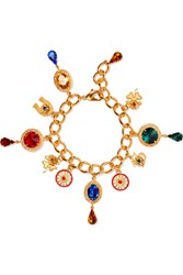 Dolce And Gabbana Gold Plated Swarovski Crystal Charm Bracelet