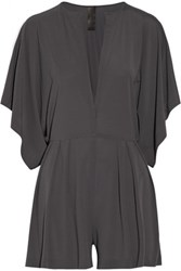 Norma Kamali Rectangle Pleated Jersey Playsuit Anthracite