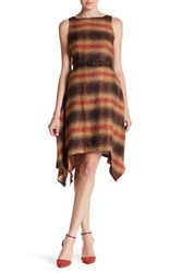 Eva Franco Checkered Sleeveless Asymmetrical Dress Gray