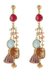 Gas Bijoux 24Kt Gold Plated Chandelier Earrings With Quartz Multicolor