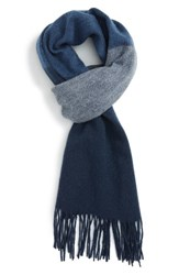 Nordstrom Men's Ombre Stripe Wool Scarf Heather Light Grey Navy