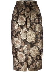 Christian Pellizzari Floral Jacquard Skirt Metallic