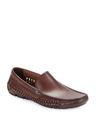 Kenneth Cole Woven Leather Loafers Cognac