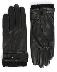 Agnelle Black Georges Smooth Leather Touchscreen Unlined Gloves