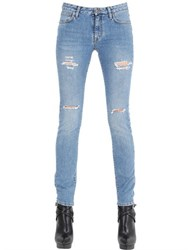 Saint Laurent Mid Rise Destroyed Cotton Denim Jeans