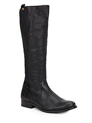 Frye Leather And Knit Knee Boots Black