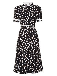 Altuzarra Ella Polka Dot Stretch Cady Dress Black Print