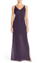 Rory Beca 'Harlow' Belted Silk Georgette Deep V Back Gown Purple