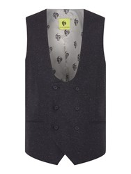 Noose And Monkey Men's Double Breasted Waistcoat Navy