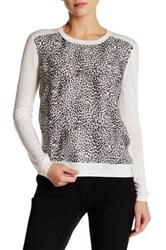 The Kooples Leopard Panel Wool Pullover White