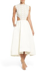 Women's Bliss Monique Lhuillier Guipure Lace And Silk Gazar Side Cutout Tea Length Dress In Stores Only