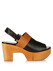 Robert Clergerie Carine Wooden Platform Leather Sandals Black Tan