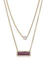 Michael Kors Urban Rush Amethyst And Crystal Double Chain Necklace Gold Amethyst