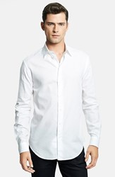 Men's Armani Collezioni Modern Fit Geometric Textured Sport Shirt True White