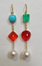 Irene Neuwirth One Of A Kind 18K Yellow Gold Earrings Set With Colombian Emerald 6.16 Cts Fire Opal 12.19 Cts 11Mm Kingman Turquoise And 12Mm South Sea Pearls On Pave Hooks 0.03Cts Multi