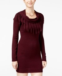 Amy Byer Bcx Juniors' Fringed Cowl Neck Sweater Dress Bordeaux