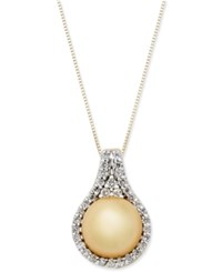 Macy's Cultured Golden South Sea Pearl 11Mm And Diamond 1 2 Ct. T.W. Pendant Necklace In 14K White Gold