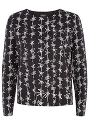 People Tree Zandra Rhodes Dancing Stars Long Sleeve Top Black