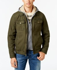 Guess Trucker Jacket With Removable Hood Olive