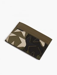 Valentino Camustar Leather And Canvas Card Holder