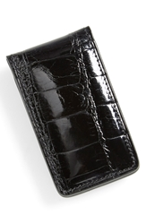 Boconi Alligator Magnetic Money Clip Black