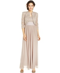 R And M Richards Petite Glitter Lace Empire Waist Gown And Jacket Mocha