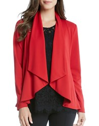 Karen Kane Solid Drape Collar Jacket Red