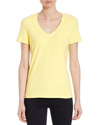 Lord And Taylor Stretch Cotton V Neck Tee Iced Lemon