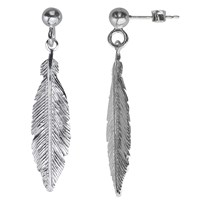 Nina B Sterling Silver Feather Drop Earrings Silver