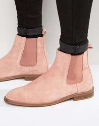 Asos Chelsea Boots In Pink Suede Pink