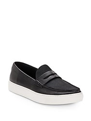 Ash Luke Leather And Calfhair Flatform Loafers Black