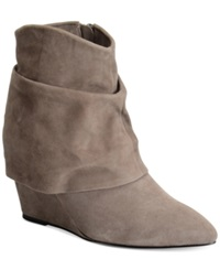 Carmen Marc Valvo Reese Wedge Booties Women's Shoes Grey Suede