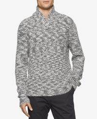Calvin Klein Men's Asymmetric Cable Knit Shawl Collar Sweater Snow White
