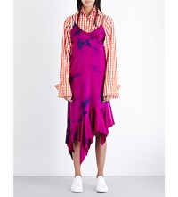 Marques Almeida Tie Dye Silk Satin Dress Purple