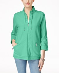 Karen Scott Lounge Zip Front Jacket Only At Macy's Island Sky