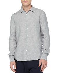 Vince Linen Button Down Shirt Gray