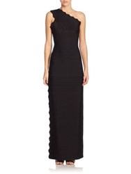 Herve Leger One Shoulder Bandage Gown Black