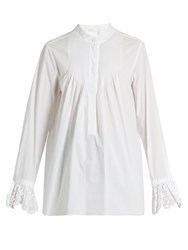 Chloe Pintucked Cotton Poplin Blouse White