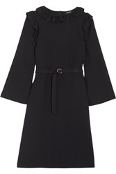 A.P.C. Atelier De Production Et De Creation Noemie Ruffle Trimmed Crepe Dress Midnight Blue