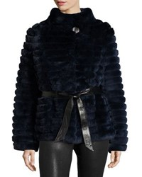 Gorski Reversible Down And Fur Belted Puffer Coat Navy