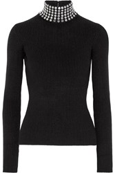 Alexander Wang Embellished Ribbed Stretch Silk Blend Turtleneck Sweater Black