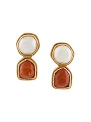 Chanel Vintage Gripoix Clip On Earrings White