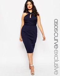 Asos Curve Bodycon Pencil Dress With Twist Neck Navy