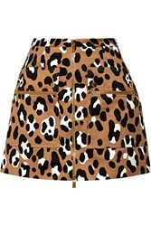 Michael Kors Leopard Print Cotton Satin Mini Skirt Animal Print