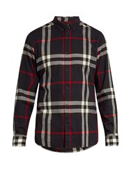 Burberry House Check Cotton Flannel Shirt Navy Multi
