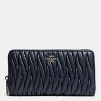 Coach Accordion Zip Wallet In Gathered Leather Light Gold Navy