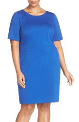 Ellen Tracy Plus Size Women's Seam Detail Elbow Sleeve Ponte Sheath Dress Cobalt
